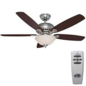 Southwind 52in. Brushed Nickel Ceiling Fan, Five Reversible Blades, Cherry/maple, with Remote Control (Brushed Nickel)