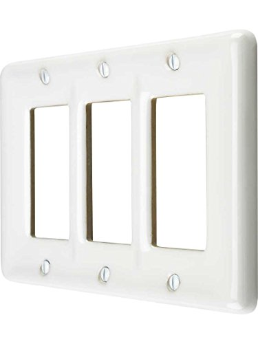Allena 3020RRRW - 3 Rocker Wallplate in White (Ceramic Wall Switchplate)