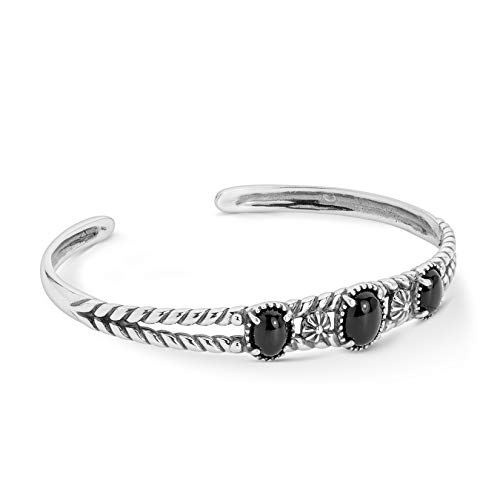 Agate Bracelet Silver Black (American West .925 Sterling Silver and Black Agate Three-Stone Twisted Floral Cuff Bracelet (Small))