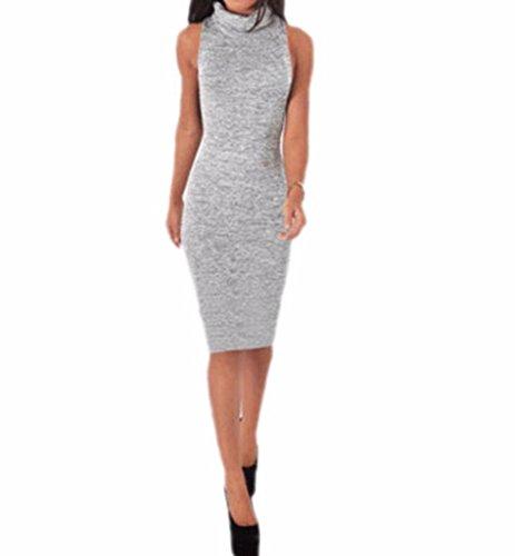 (Women Turtleneck Sleeveless Maxi Knit Sweater Bodycon Pencil Party Dress Light Gray M)