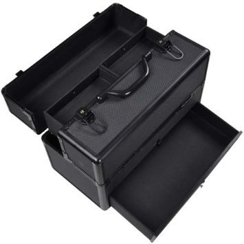 Triprel Inc Professional Lightweight Portable Aluminum Key-locked ABS Cosmetic Train Case w/ Drawer - Black