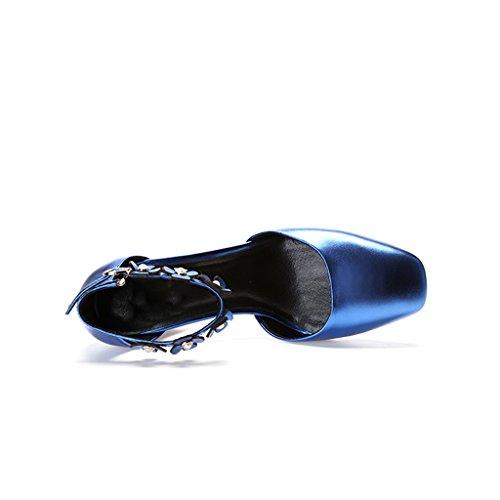 Profunda Grueso Huecos Cabeza De Cuero Mujer De Zapatos o De Zapatos Hebilla Oto Altos Tama Tacones Femenina YUBIN Flores con De o Boca De Color Moda De Blue Zapatos Poco 37 De WRqzF6