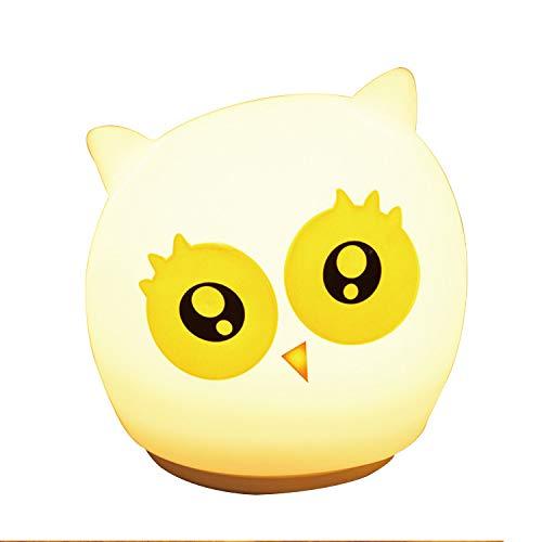 Granty LED Cute Owl Silicone Lamp Children Night Light Bedside Lightswarm...