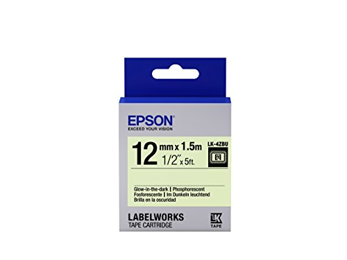 "Epson LabelWorks Glow-in-the-dark LK (Replaces LC) Tape Cartridge ~1/2"" Black on Glow-in-the-dark (LK-4ZBU) - For use with LabelWorks LW-300, LW-400, LW-600P and LW-700 label printers"