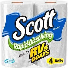 Scott Rapid Dissolve Toilet Tissue (Pack of 4 rolls) (Scott 4pk Rapid Dissolving Rv Bath Tissue)