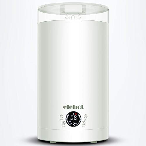 ELEHOT Humidifiers for Bedroom with 3 Levels Adjustable Mist Mode with 7 Colors Light and Top Fill Water, 3L Creamy-White