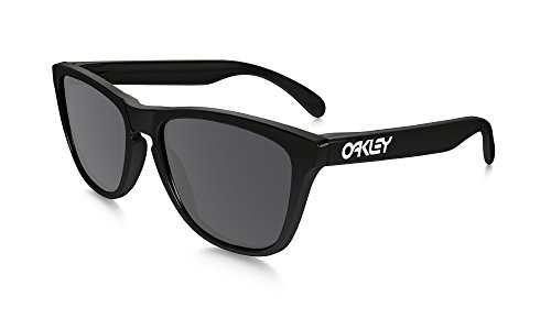 Oakley Men's Frogskins (A) Polarized Iridium Rectangular Sunglasses, Polished Blackgrey, 54 Mm