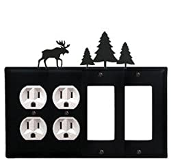 Eoogg-22 Moose & Pine Trees Double Outlet Double Gfi Electric Cover