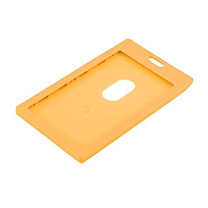 Escuela de plástico eDealMax Trabajo Vertical Nombre tarjeta de identificación Oficina 9x5.4cm Naranja Titular