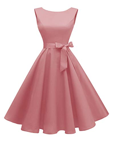 Hanpceirs Women's Boatneck Sleeveless Swing Vintage 1950s Cocktail Dress Blushpink M]()