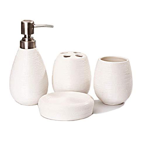 YJXJJD Ceramic Bathroom Set White Straw Pattern Bathroom Four-Piece Ornament Ornaments (Color : C)