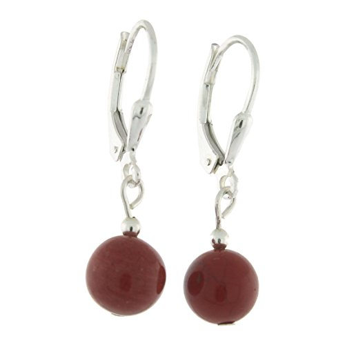 Sterlig Silver 8mm Gemstone Bead Dangle Lever Back Earrings, Red Jasper - Sterling Red Jasper