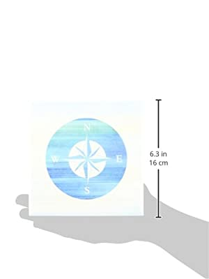 PS Beach - Aqua Nautical Compass beach theme art - Tiles