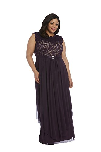 R & M Richards Sequined Lace Chiffon Gown (14w, ivtp) (14w, pmtp)