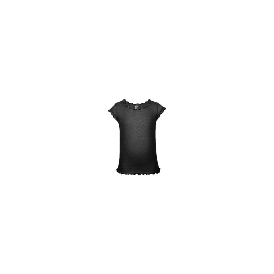 Kavio Little Girls 3 6X Lettuce Edge Scoop Neck Cap Sleeve Top Black 3
