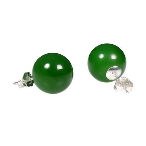 - Trustmark 925 Sterling Silver 12mm Natural Nephrite Green Jade Ball Stud Post Earrings