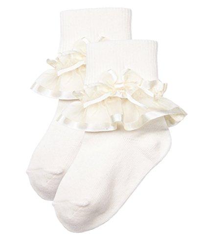 Trimfit Girls Sheer Ribbon /& Bow Turn Cuff Socks 2-Pack