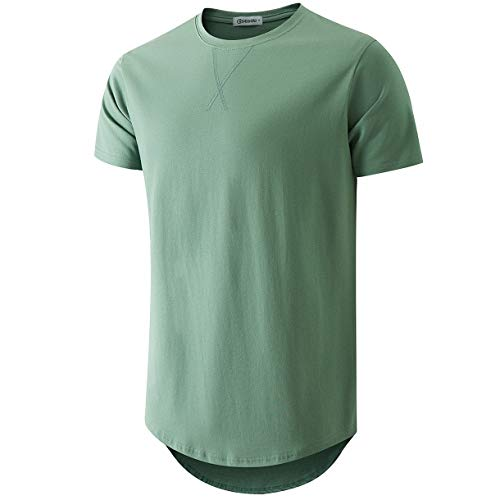 KLIEGOU Mens 100% Cotton Hipster Hip Hop Longline Crewneck T-Shirt Dark Green S(66)