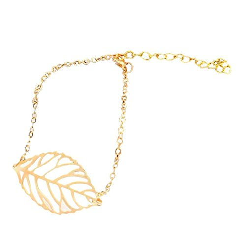 Molyveva Maple Leaf Anklet Bracelet Handmade Beach Foot Jewelry Gold Leaf Chain