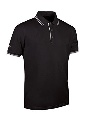 Glenmuir Mens MSP7422 Herringbone Tipped Performance Pique Polo Shirt-Black/White-X-Large