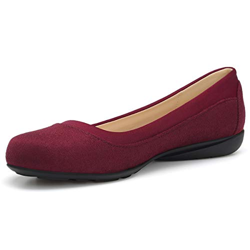 Classic Ballet Shoes for Women Soft Slip-On Loafer Cute Round Toe Flat Shoes Solid Colors BURGUNDAY 8.5 ()