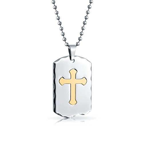Bling Jewelry Religious Cut Out Cross Two Toned Gold Plated Dog Tag Pendant Stainless Steel Necklace 24 Inches