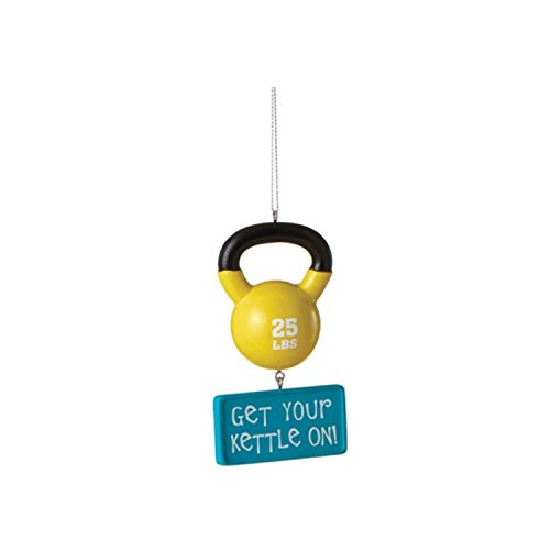 "3.75"" Blue and Yellow ""Get Your Kettle On!"" 25 lbs. Kettlebell Work Out Humor Christmas Ornament"