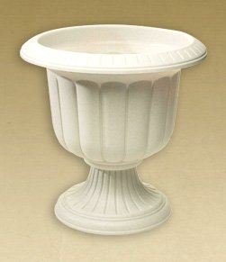 (6) ea Novelty Mfg # 38192 19'' White Classic Plastic Porch Urn/Planters by Novelty Manufacturing (Image #1)