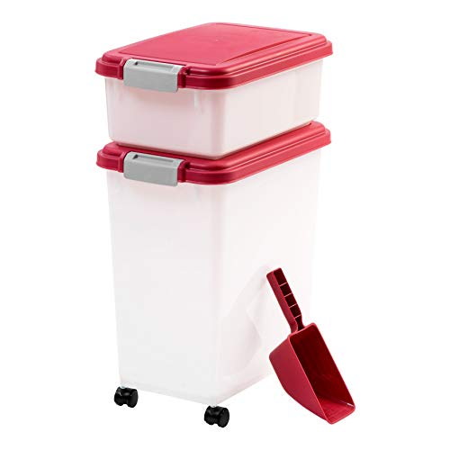 IRIS 3Piece Airtight Pet Food Container Combo, Red