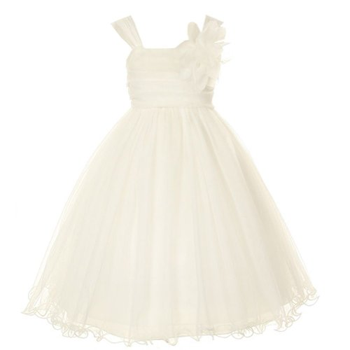- Kid's Dream Ivory Double Layer Mesh Flower Girl Dress,Color Ivory, Size:10