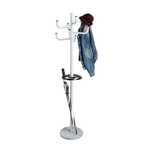 Mind Reader Standing Coat Rack Hat Hanger Holder 8 Hooks for Jacket, Purse, Scarf Rack, Black