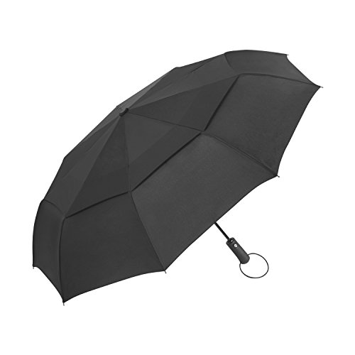 Amazon Lightning Deal 97% claimed: Travel Umbrella - Windproof Compact Umbrella with Double Canopy Construction - Auto Open&Close,Sturdy, Portable and Lightweight + Lifetime Guarantee (Black, 45inch)