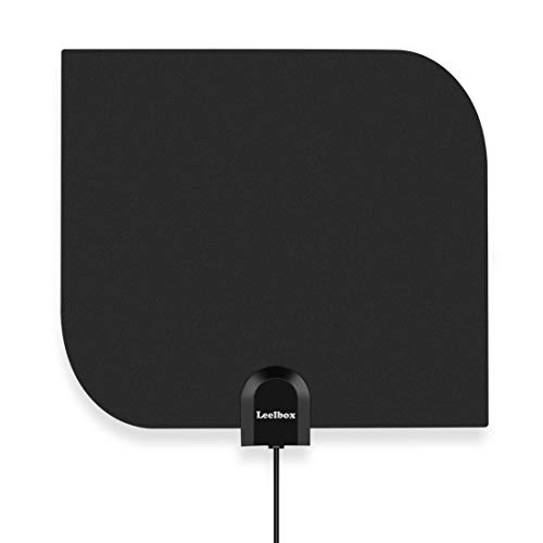 Leelbox TV Antenna Indoor Digital HDTV Antenna 60~80 Mile Range Amplified 4K 1080p Full HD Antenna for Free Local Channels with Amplifier Signal Booster - 16.5ft Longer Coax Cable - Black/White - Antenna Mid Range