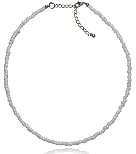 Native Treasure 16 inch Opaque Shiny White Pearl Luster Color Glass Seed Bead Adjustable Choker - 4mm ()