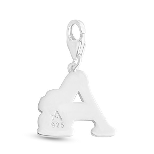 Azaggi Sterling Silver Colored Initial Letter W with Flower Charm Pendant with a Lobster Claw Clasp