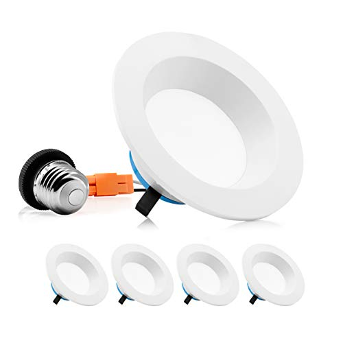 Parmida (4 Pack) 4 inch Dimmable LED Retrofit Recessed Downlight, 9W (65W Replacement), Smooth Design, 600lm, 2700K (Warm White), Energy Star & ETL, LED Ceiling Can Light, LED Trim