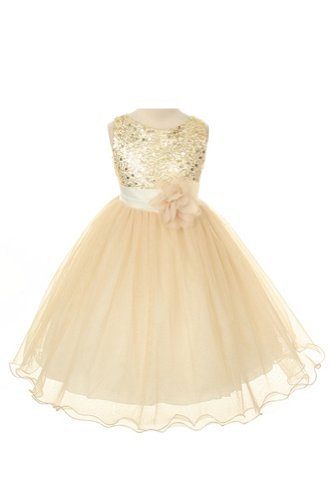 ee8e99634811 Amazon.com  Sequin Bodice Tulle Special Occasion Holiday Flower Girl ...