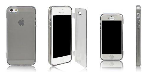 Xcessor Flip Open TPU Gel Case Tasche Schutzhülle Für Apple iPhone SE / 5S / 5. Vorder-und Rückseite Schutz. Grau / Transparent