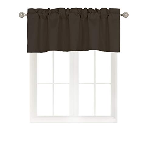 Home Queen Solid Rod Pocket Blackout Curtain Valance Window Treatment for Living Room, Short Straight Drape Valance, Set of 1, 54 X 18 inch, Brown