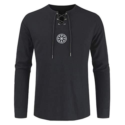 JJLIKER Men's Vintage Long Sleeve Shirt Tops Lace Up Drawsting Cotton Linen T-Shirt V-Neck Casual Blouse Black ()