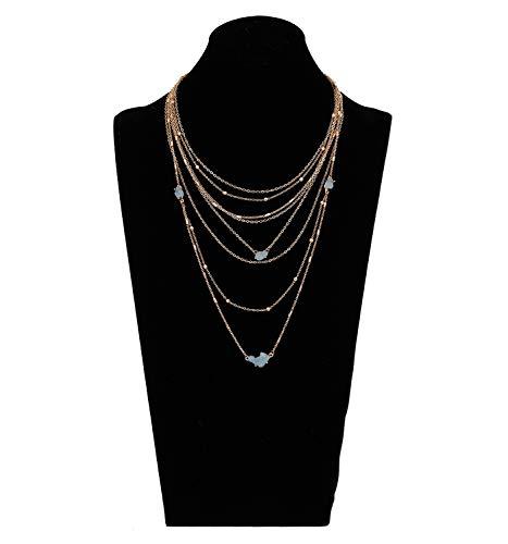 YEYA Bohemia Multilayer Necklace for Women Girls Waterfall Layered Choker Necklace Handmade Charm Chain Tassel Pendant Necklace Statement Jewelry Necklace - Strand Multi Charm Necklace