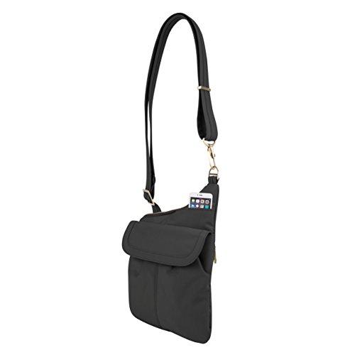 Travelon Pewter Black Anti Theft Signature Slim Crossbody Bag 88Aqrz