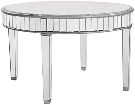 Elegant Decor Round Dining Table, Silver