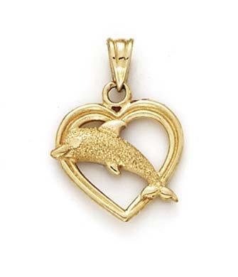 14 Carats Pendentif Dauphin Coeur-JewelryWeb