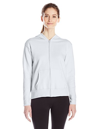 Hanes Women's Full Zip Hood, White, Medium (Cotton Blend Zip Sweatshirt)