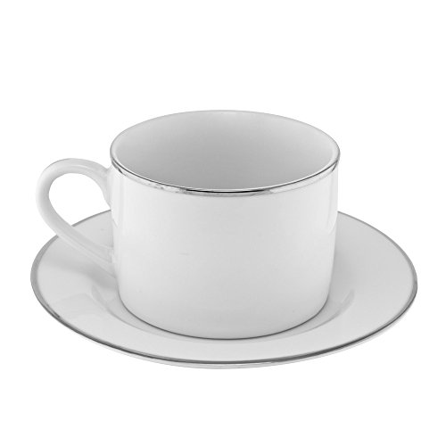 10 Strawberry Street Silver Line 6 Oz Can Cup/Saucer, Set of 6, White/Silver