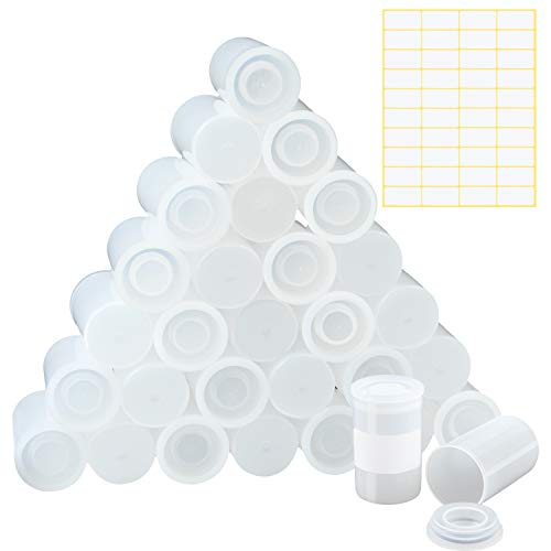 Elcoho 30 Pieces White Film Canister Holder with Lids, 33 mm Empty Camera Reel Containers with 40 Pieces Blank Labels for...