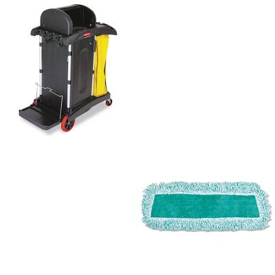 Microfiber Janitor Cart (KITRCP9T7500BKRCPQ408GRE - Value Kit - Rubbermaid-High Security Janitor Cart for Healthcare Settings, Black (RCP9T7500BK) and Rubbermaid Q408GRE 18quot; Standard Microfiber Dust Mop with Fringe, Green (RCPQ408GRE))