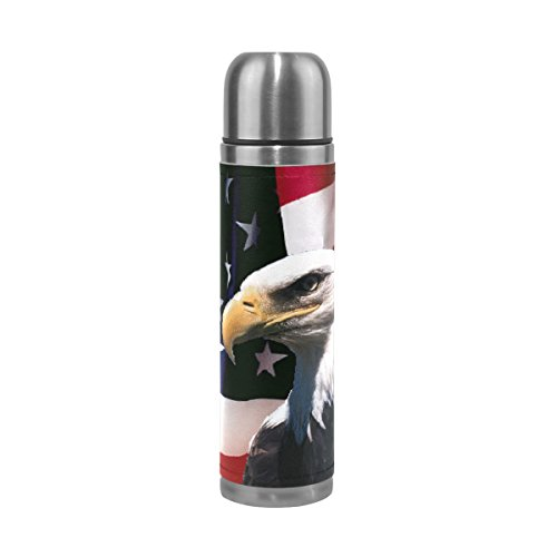 Steel Stainless Eagles Thermos (Thermos 17.5oz American Flag With Eagle Custom Double Wal Vacuum Insulated Stainless Steel Water Bottle for Kids Adults)