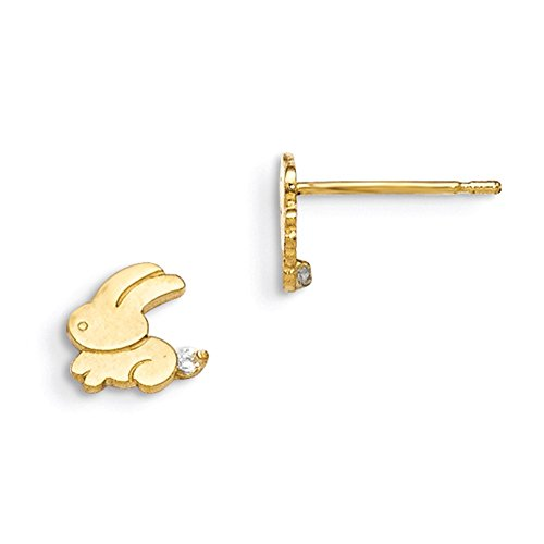 (Lex & Lu 14k Yellow Gold Madi K CZ Children's Bunny Post)